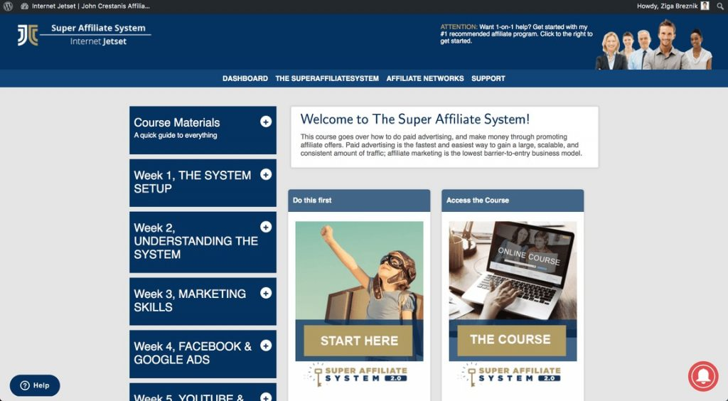 super affiliate system review members area